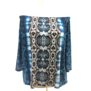 Boston Proper M Blue Snake Skin Off Shoulder Top